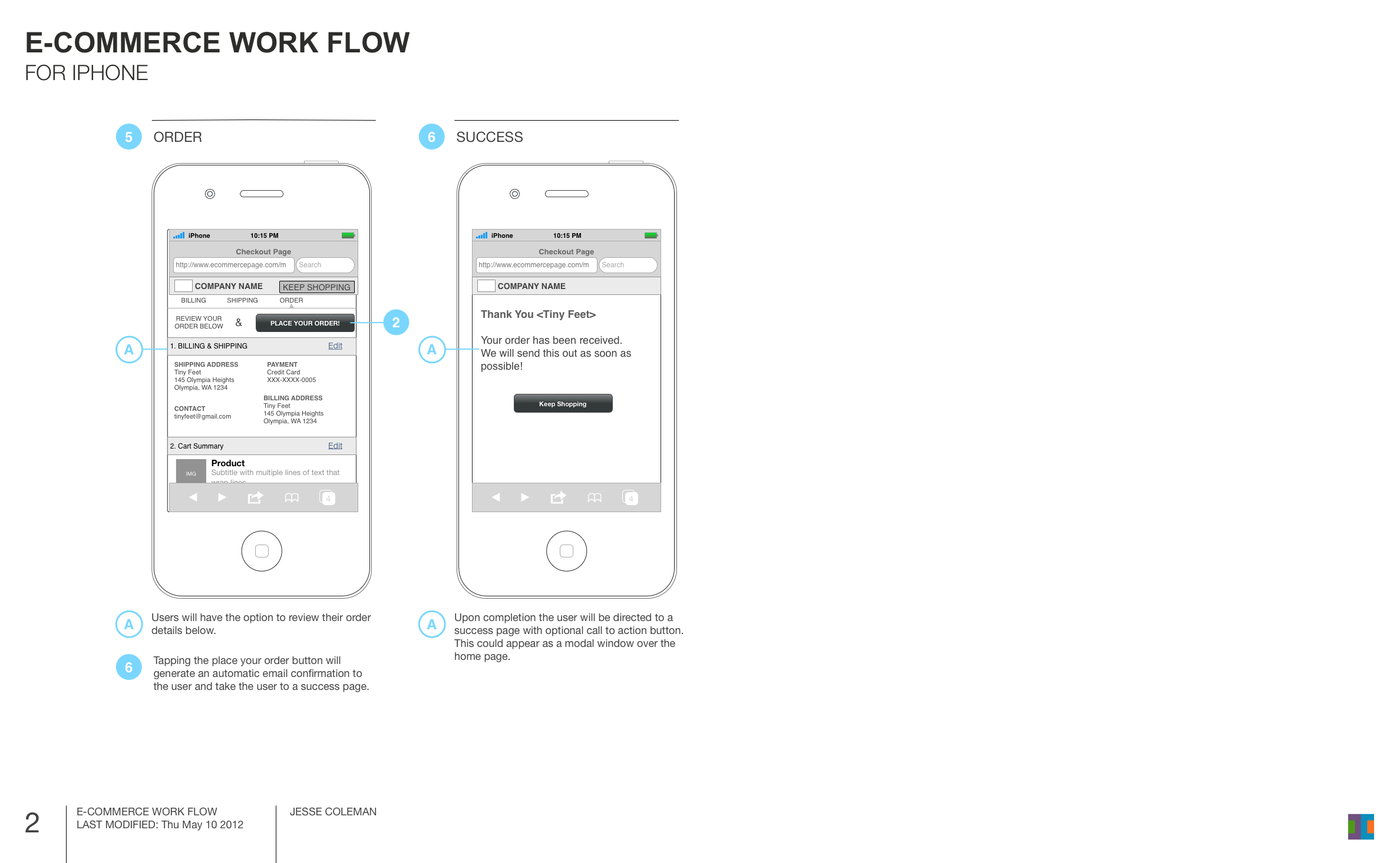 Mobile E-Commerce Wireframe 2